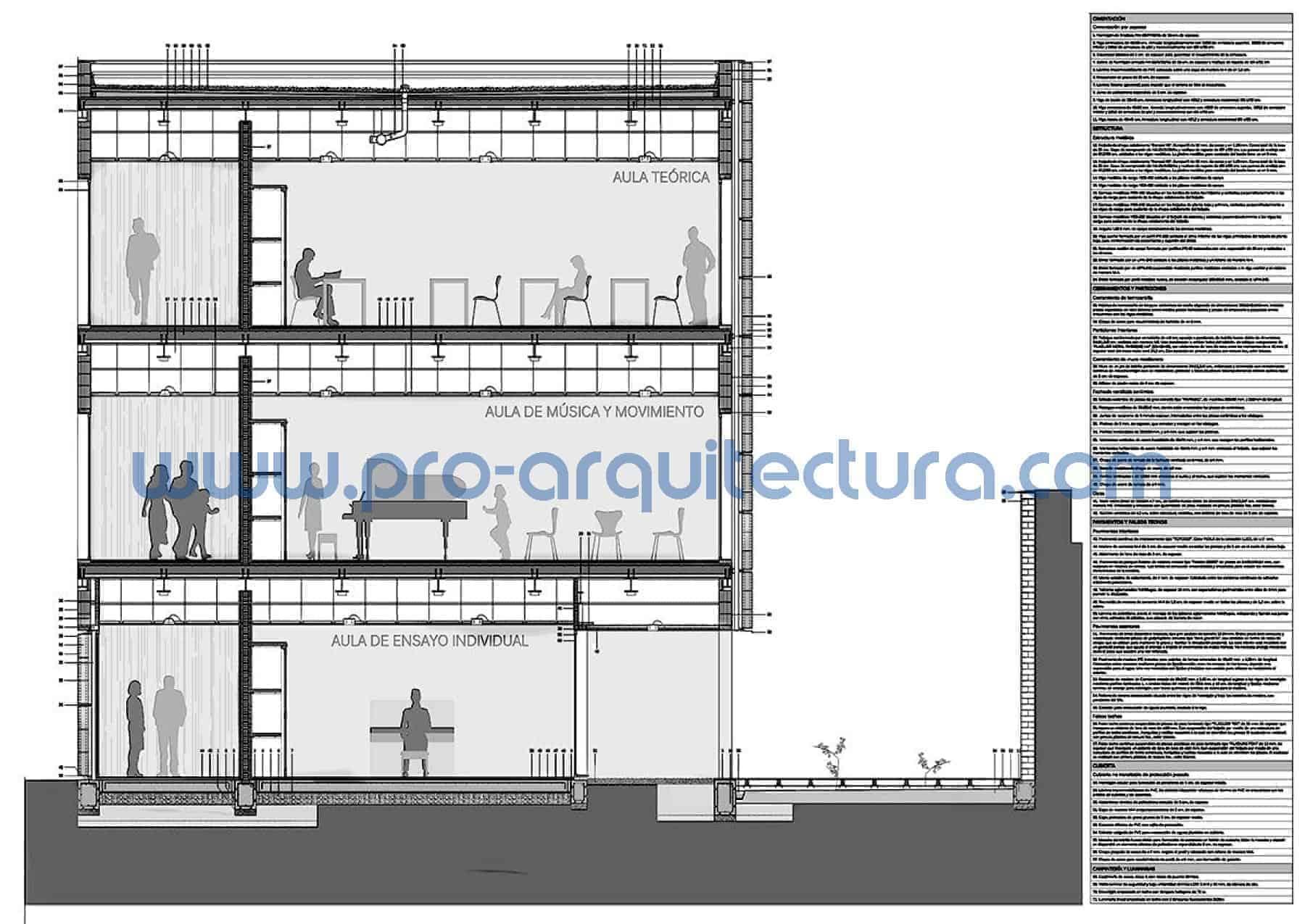 0000-01 Escuela de secundaria - Sección y detalles constructivos - Tu ayuda con la entrega del pfc pfg tfg tfm de arquitectura.