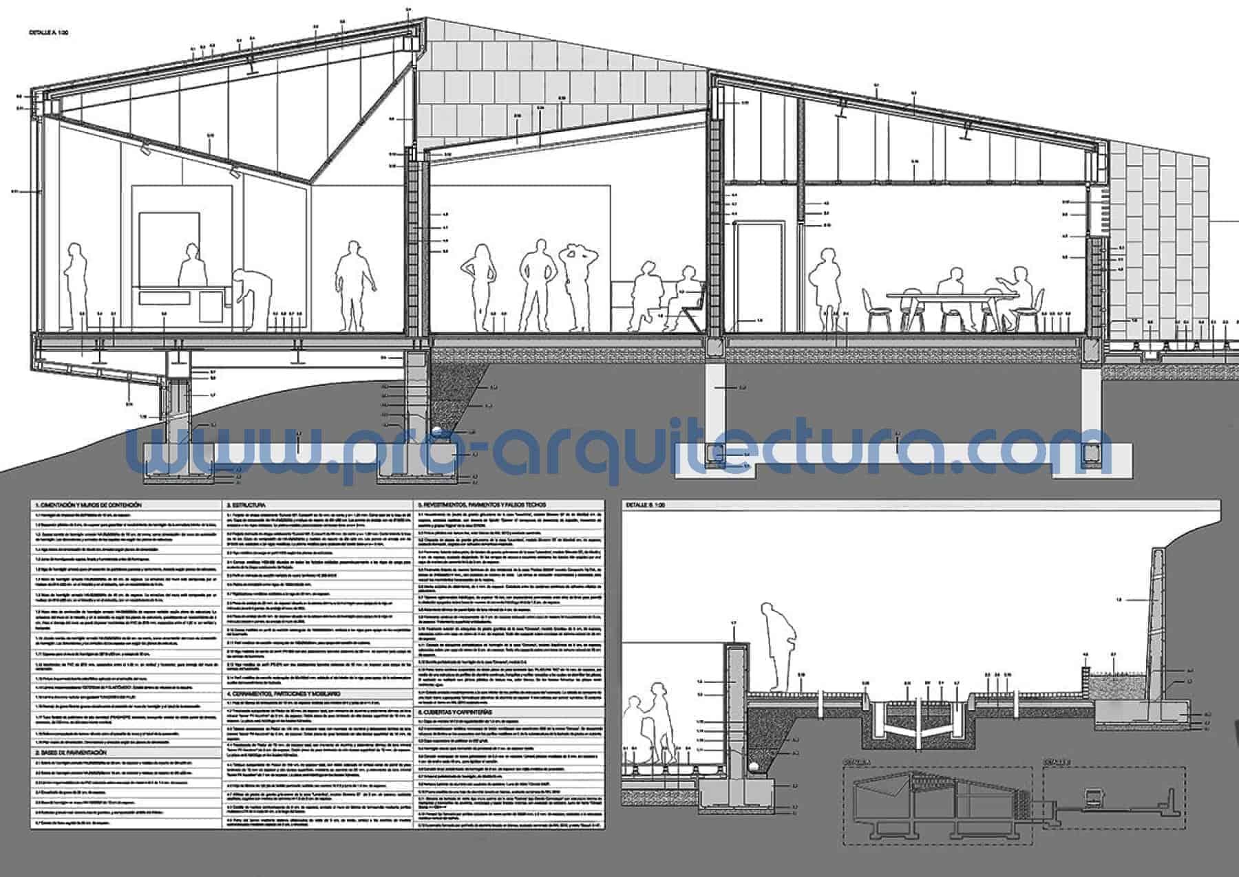 0003-01 Observatorio astronómico - Sección y detalles constructivos - Tu ayuda con la entrega del pfc pfg tfg tfm de arquitectura.