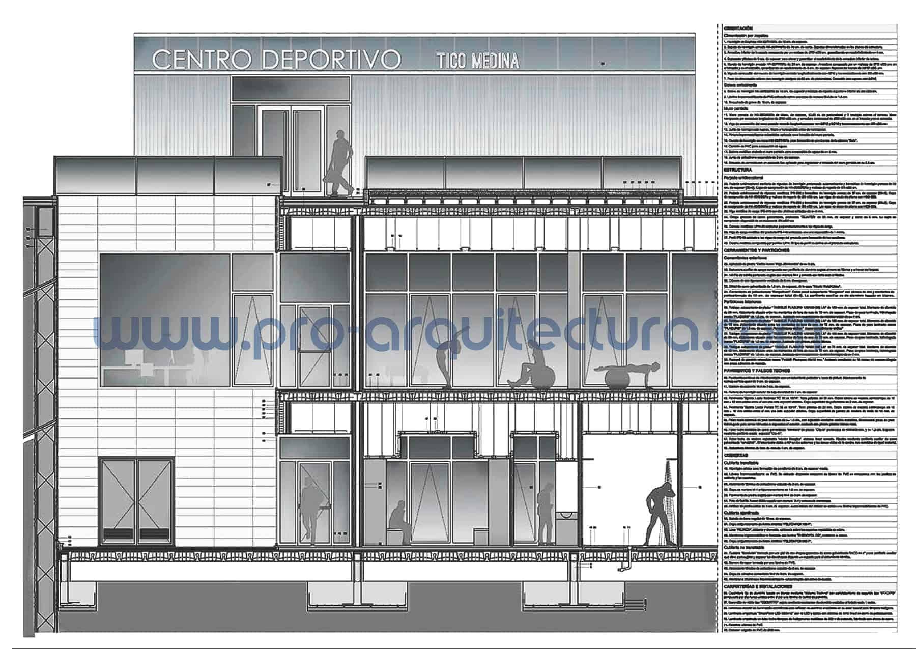 0006-01 Pabellón polideportivo - Sección y detalles constructivos - Ayuda con la entrega del pfc pfg tfg tfm de arquitectura.