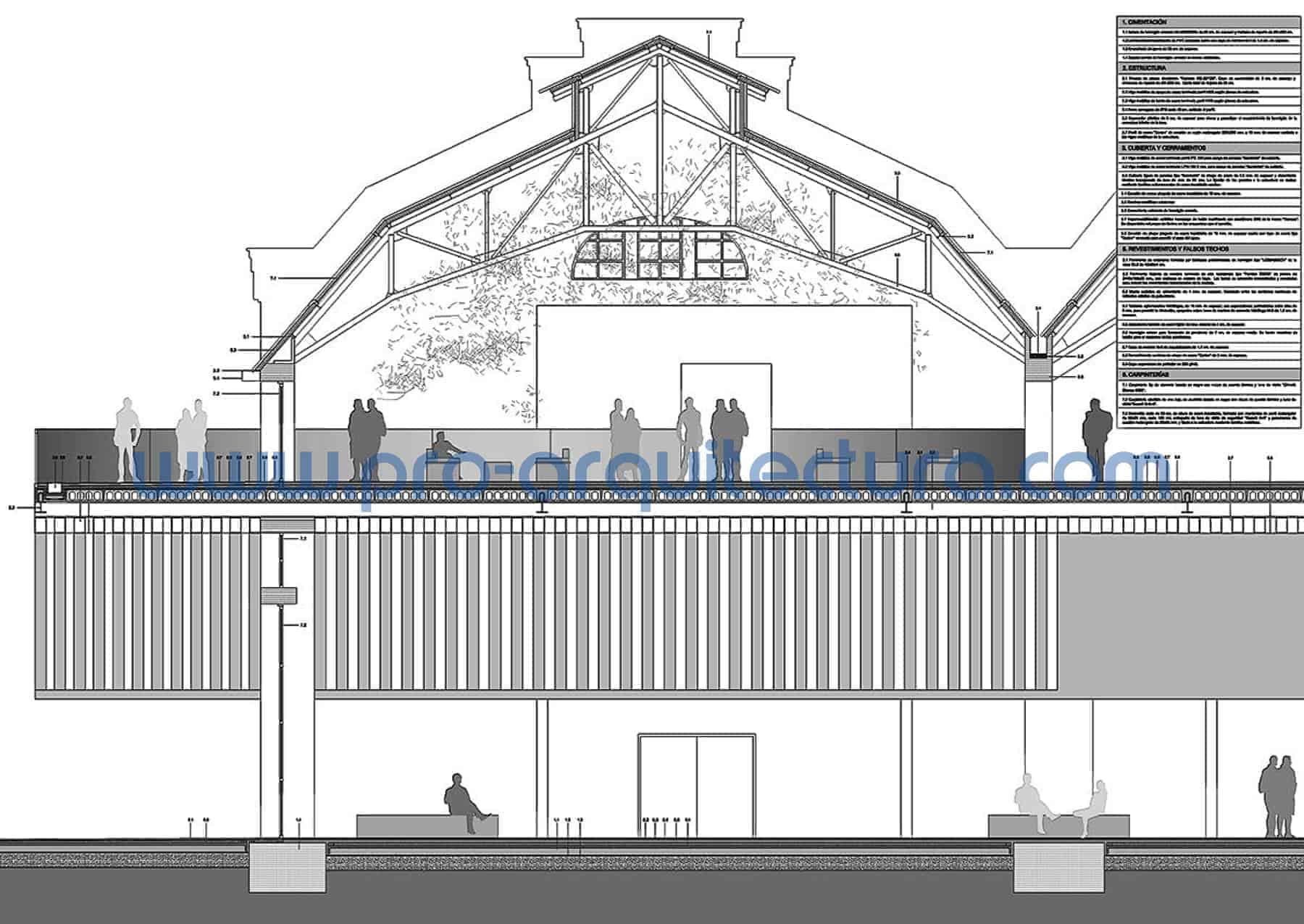 0007-02 Rehabilitación - Pabellón polideportivo - Sección y detalles constructivos - Ayuda con la entrega del pfc pfg tfg tfm de arquitectura.