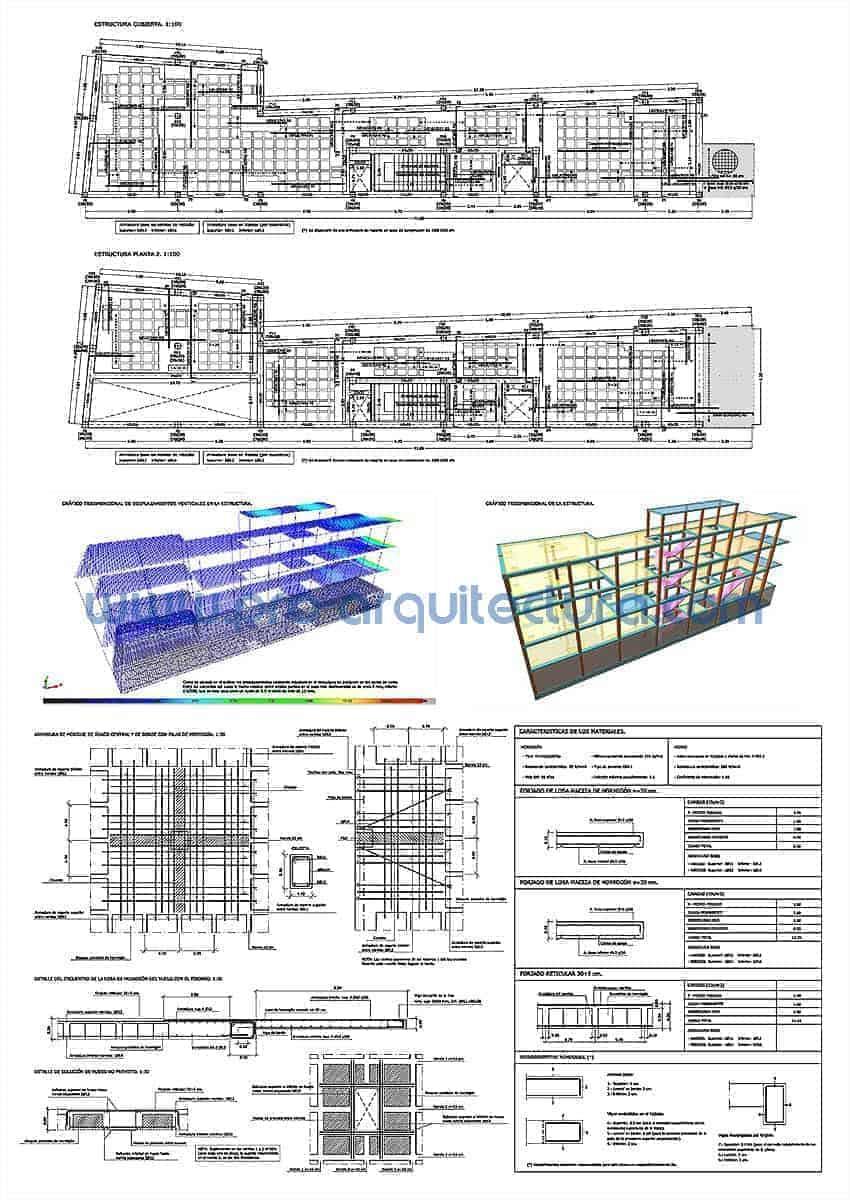0010-03 Centro cultural-Biblioteca. Planos de estructuras. Tu ayuda con la entrega del pfc pfg tfg tfm de arquitectura.