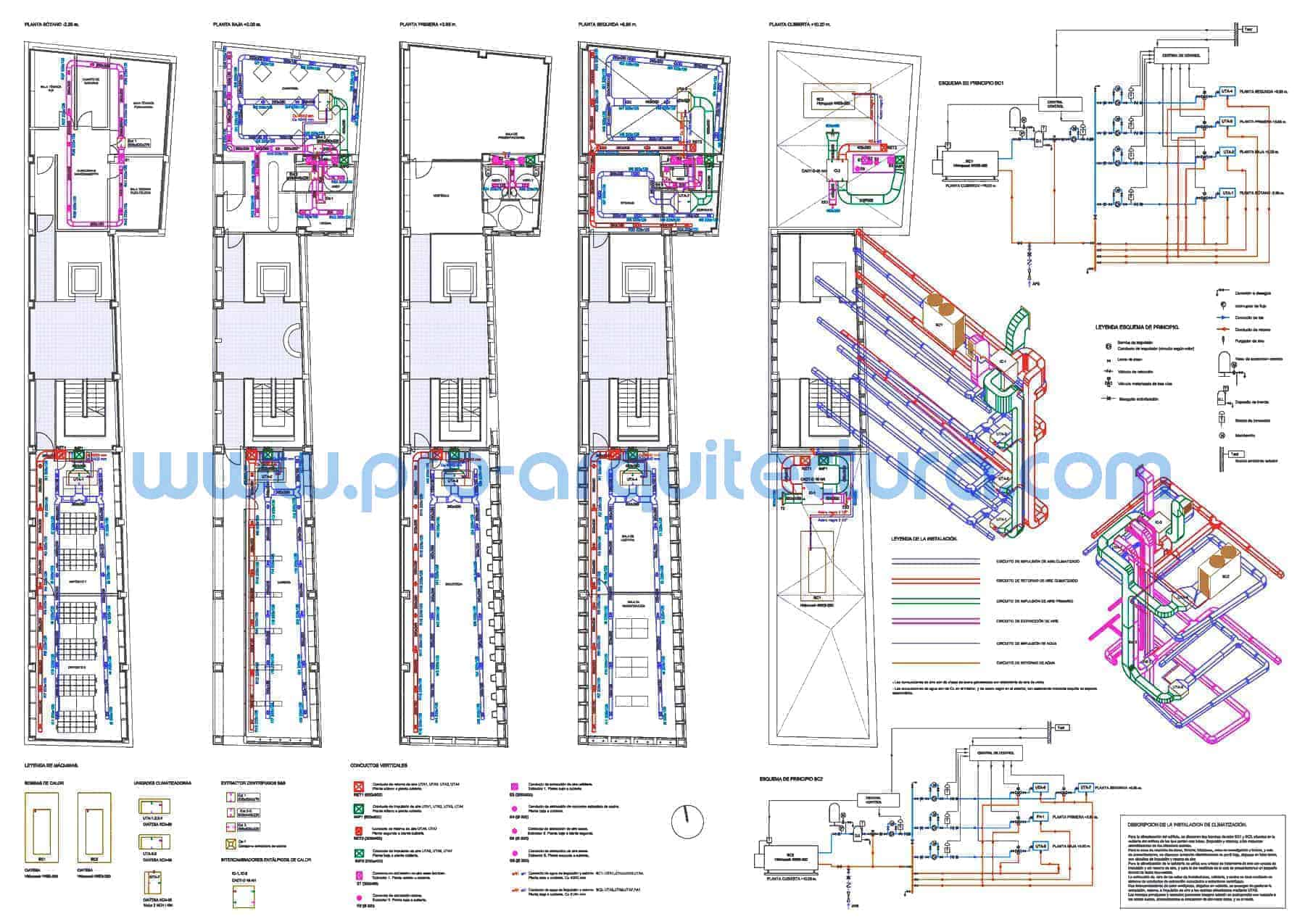 0012-01 Biblioteca pública. Plano de instalación de climatización. Tu ayuda con la entrega del pfc pfg tfg tfm de arquitectura.