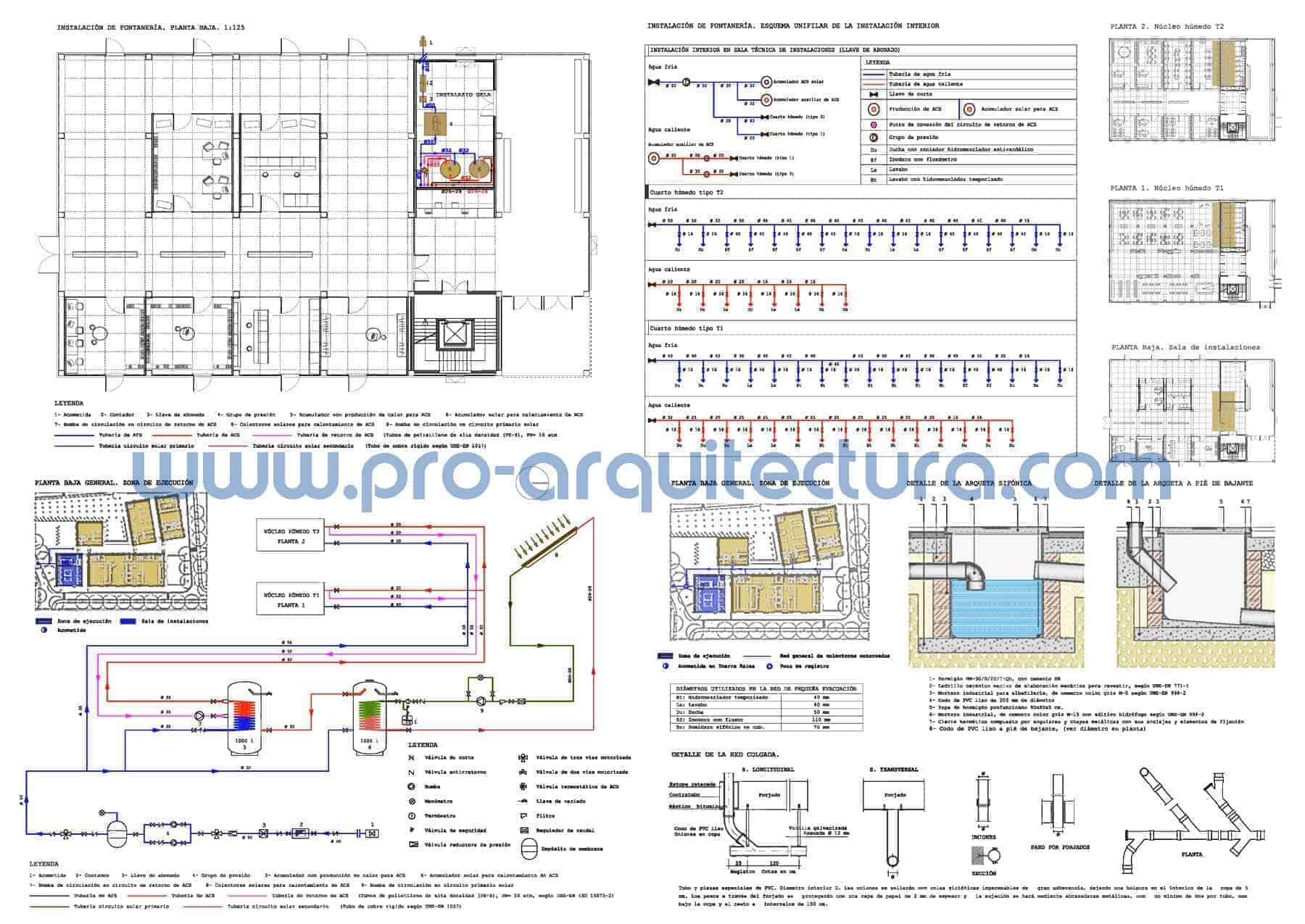 0016-03 Edificio de oficinas. Plano de instalación de fontanería. Tu ayuda con la entrega del pfc pfg tfg tfm de arquitectura.