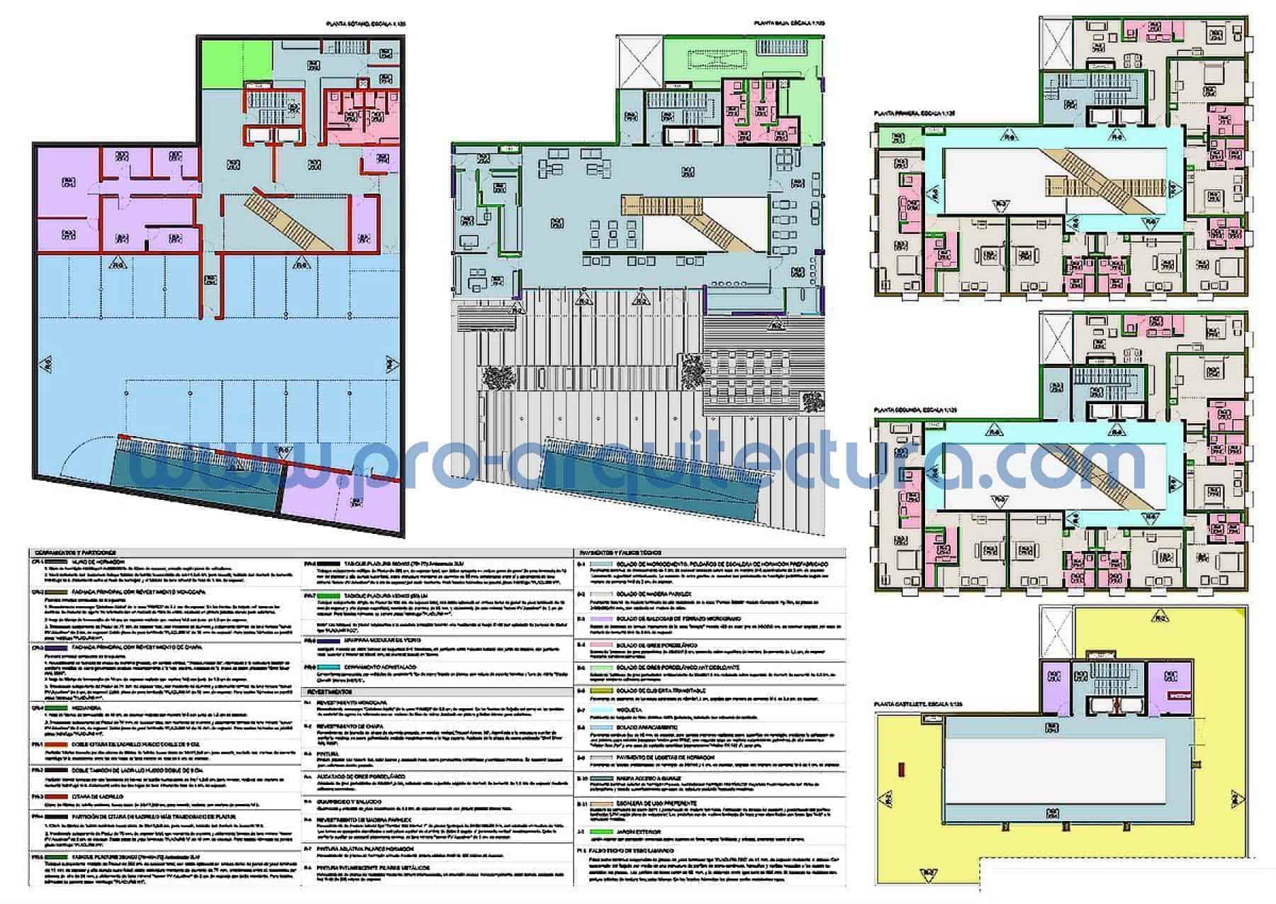 0017-06 Hotel en el centro - Planos de albañilería, revestimientos y acabados - Ayuda con la entrega del pfc pfg tfg tfm de arquitectura.