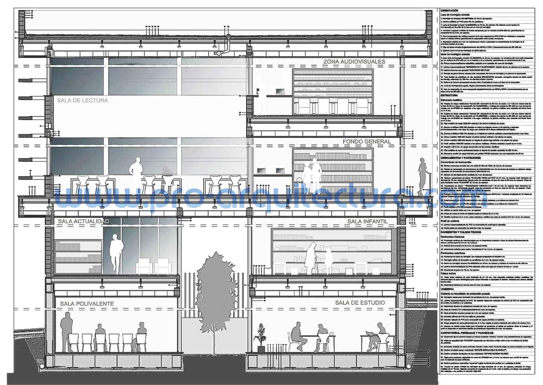 0020-01 Biblioteca municipal - Sección y detalles constructivos - Ayuda con la entrega del pfc pfg tfg tfm de arquitectura.