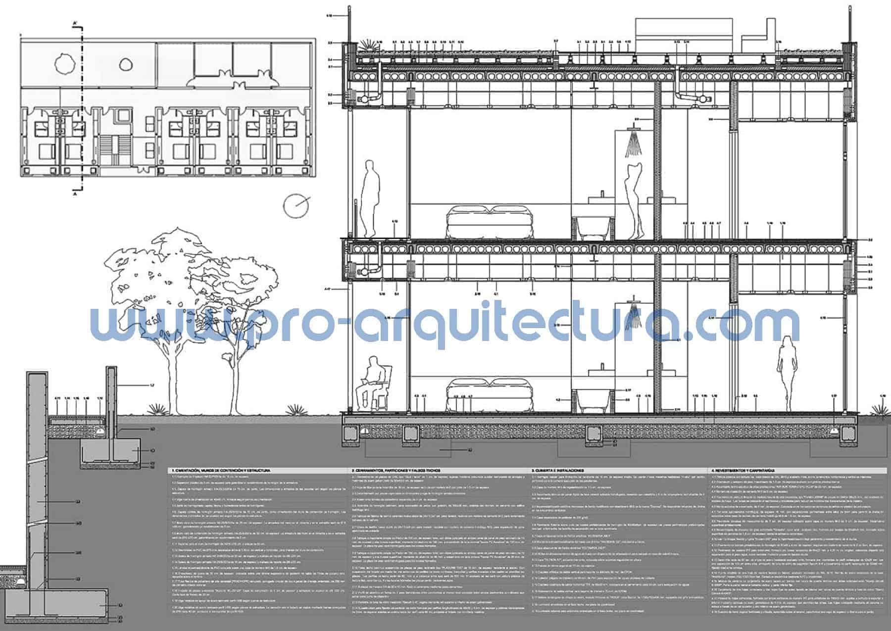 0021-02 Edificio residencial - Hotel. Sección y detalles constructivos - Ayuda con la entrega del pfc pfg tfg tfm de arquitectura.