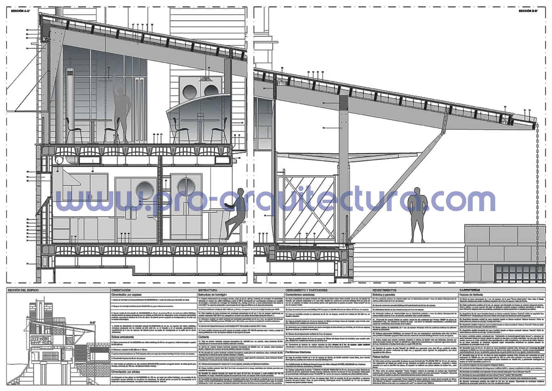 0024-03 Club náutico - Sección y detalles constructivos - Ayuda con la entrega del pfc pfg tfg tfm de arquitectura.