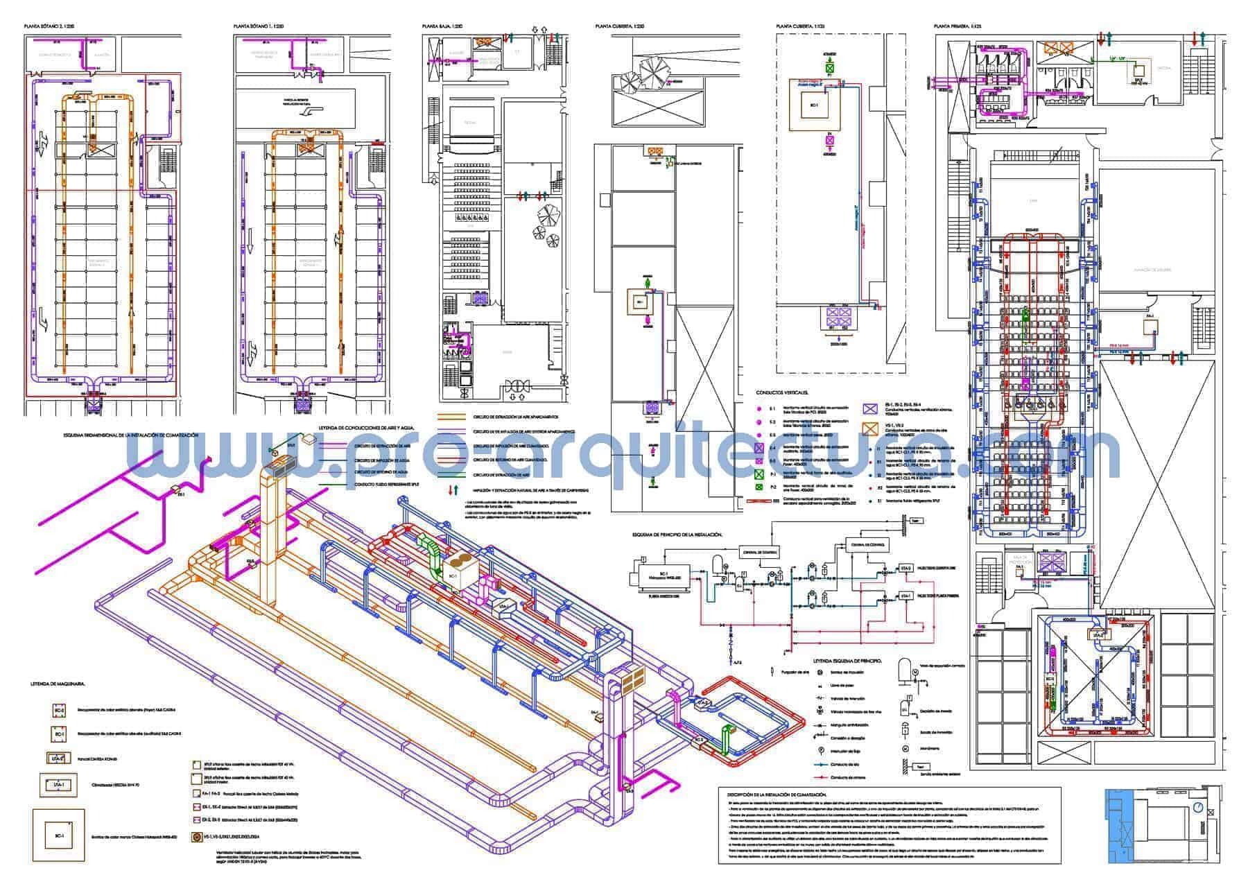 0025-01 Palacio de congresos. Plano de instalación de climatización. Tu ayuda con la entrega del pfc pfg tfg tfm de arquitectura.
