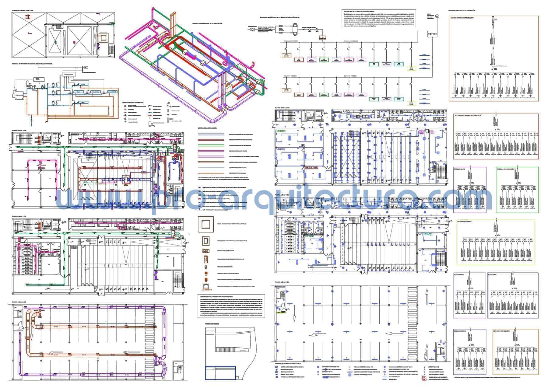 0028-01 Teatro-Auditorio. Planos de instalaciones de climatización y electricidad. Tu ayuda con la entrega del pfc pfg tfg tfm de arquitectura.