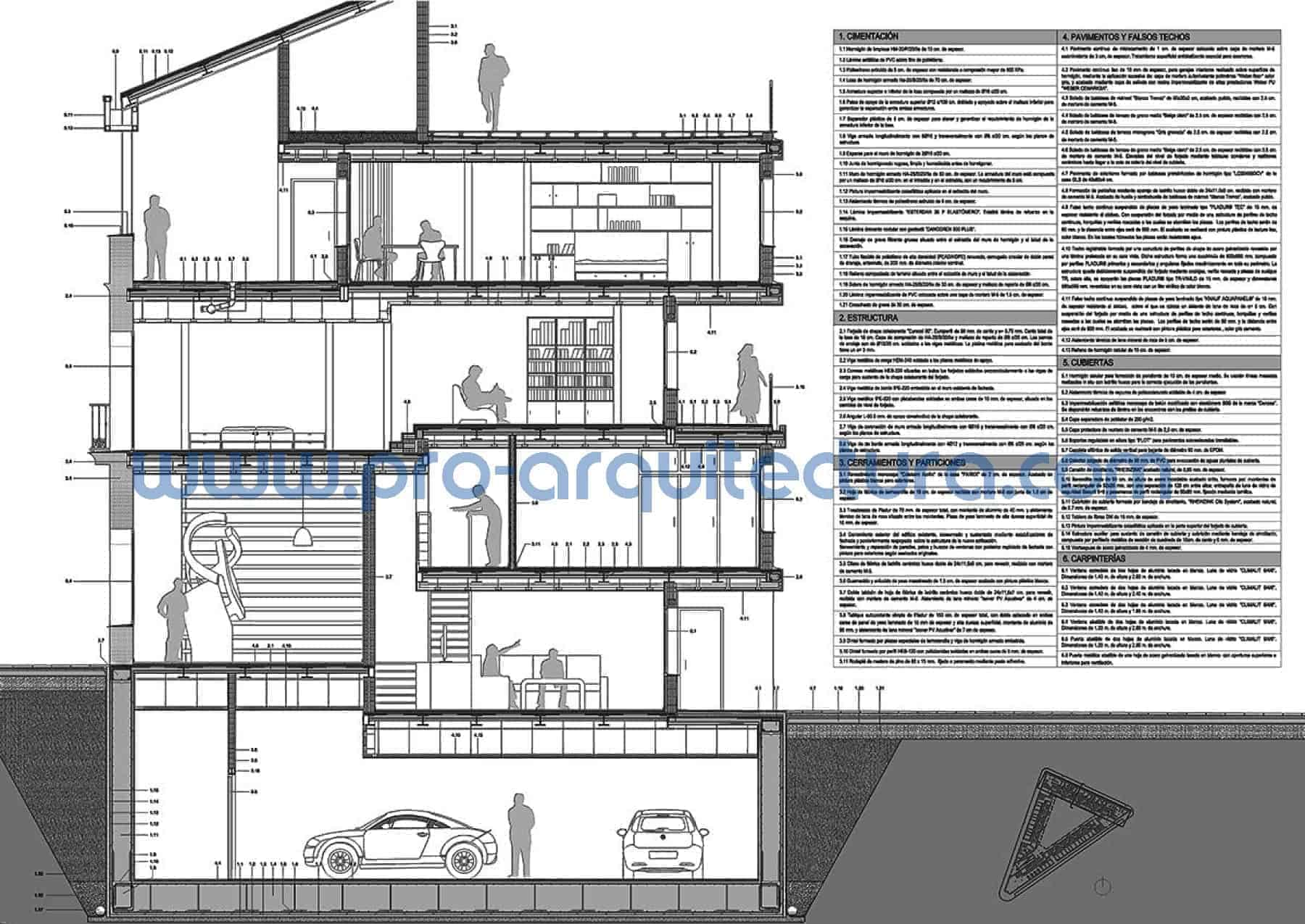 0031-02 Edificio de viviendas - Sección y detalles constructivos - Ayuda con la entrega del pfc pfg tfg tfm de arquitectura.