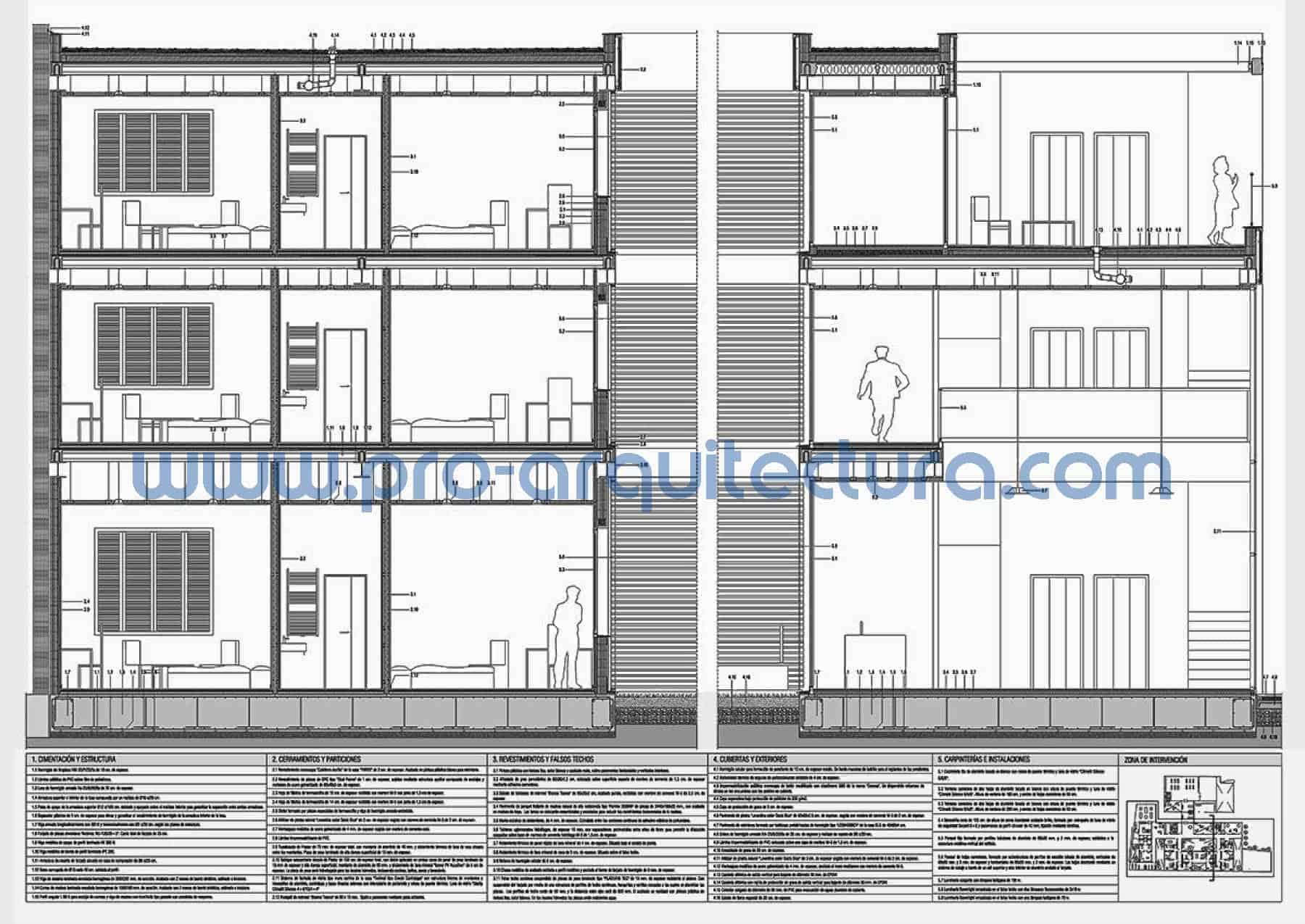 0034-02 Residencia de estudiantes - Sección y detalles constructivos - Ayuda con la entrega del pfc pfg tfg tfm de arquitectura.