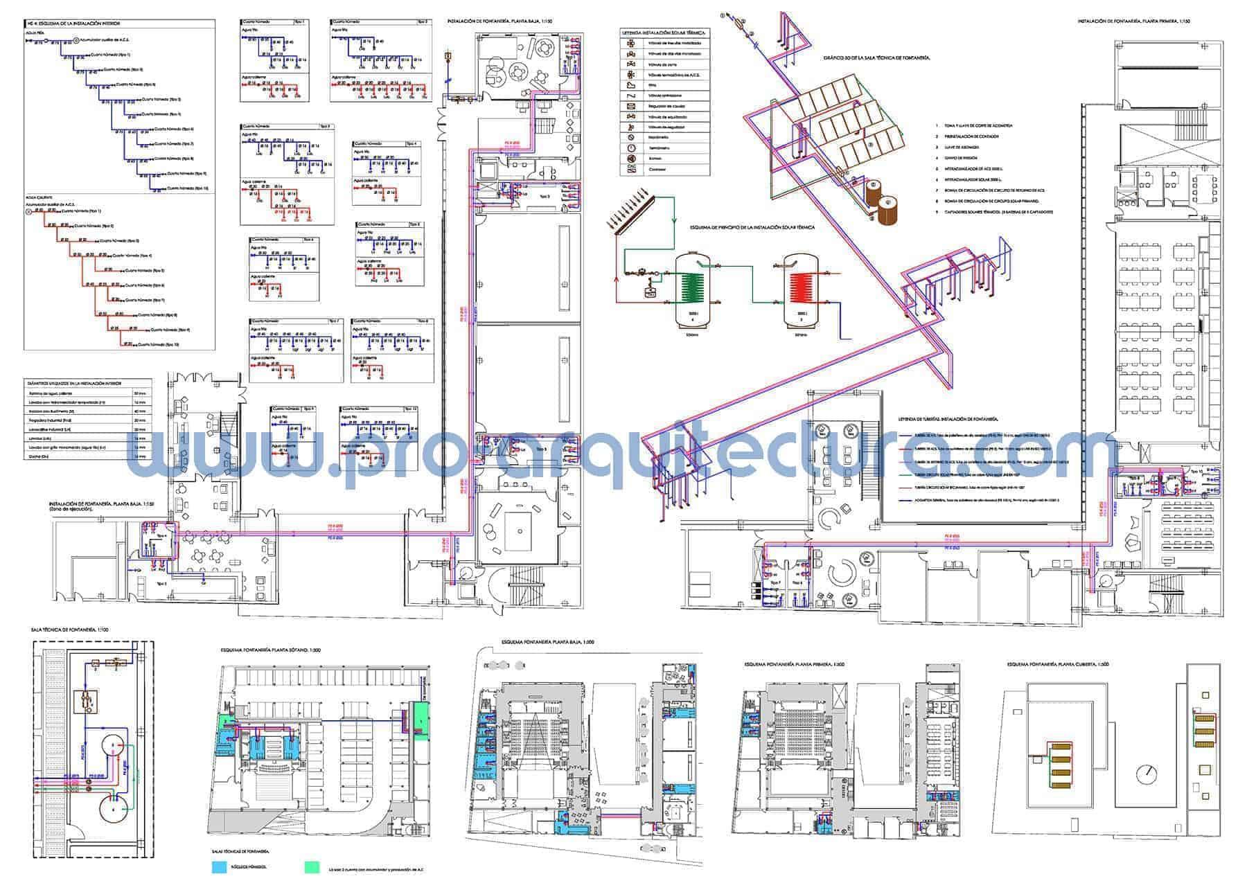 0036-03 Centro de enseñanza. Plano de instalación de fontanería. Tu ayuda con la entrega del pfc pfg tfg tfm de arquitectura.