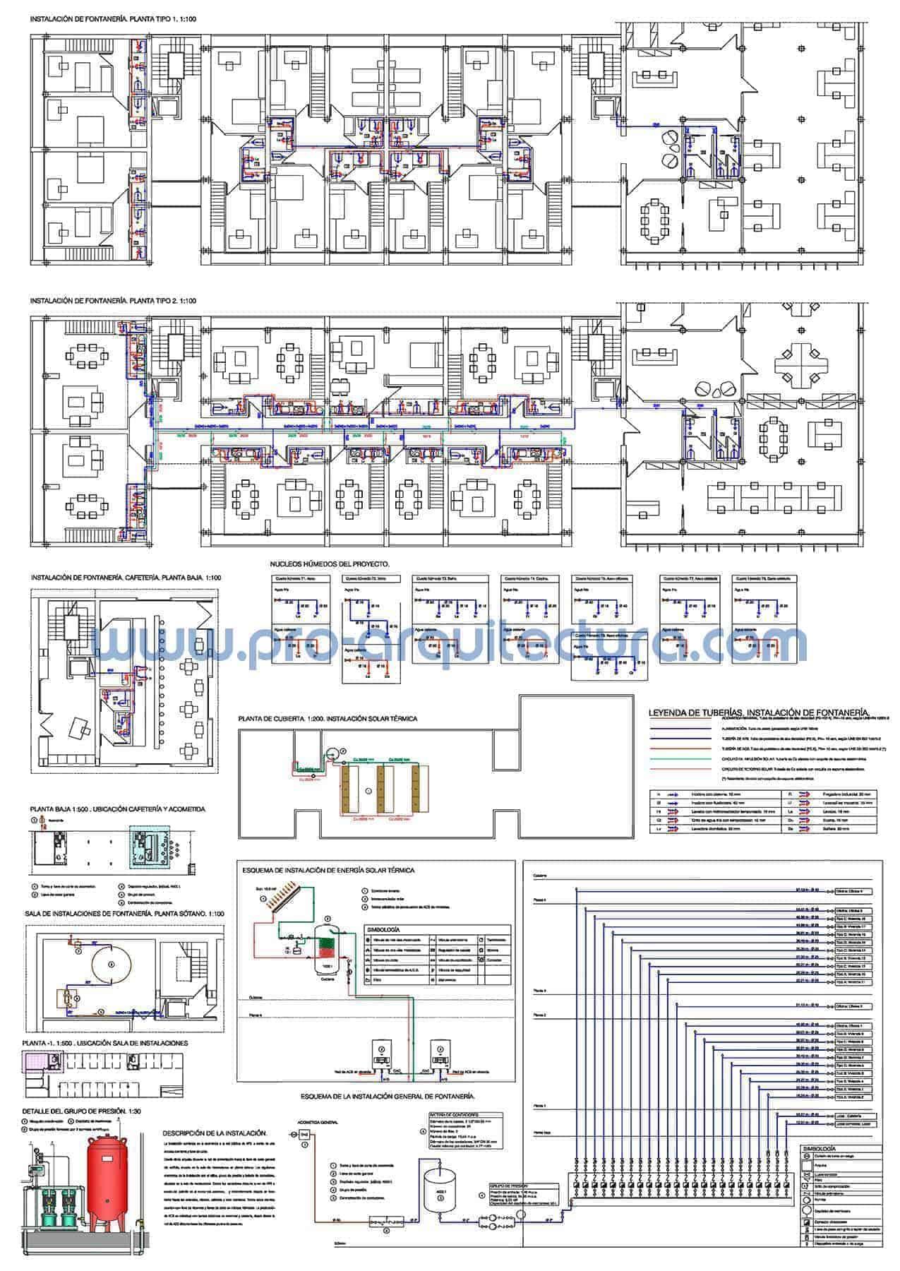 0037-01 Edificio de viviendas. Plano de instalación de fontanería. Tu ayuda con la entrega del pfc pfg tfg tfm de arquitectura.