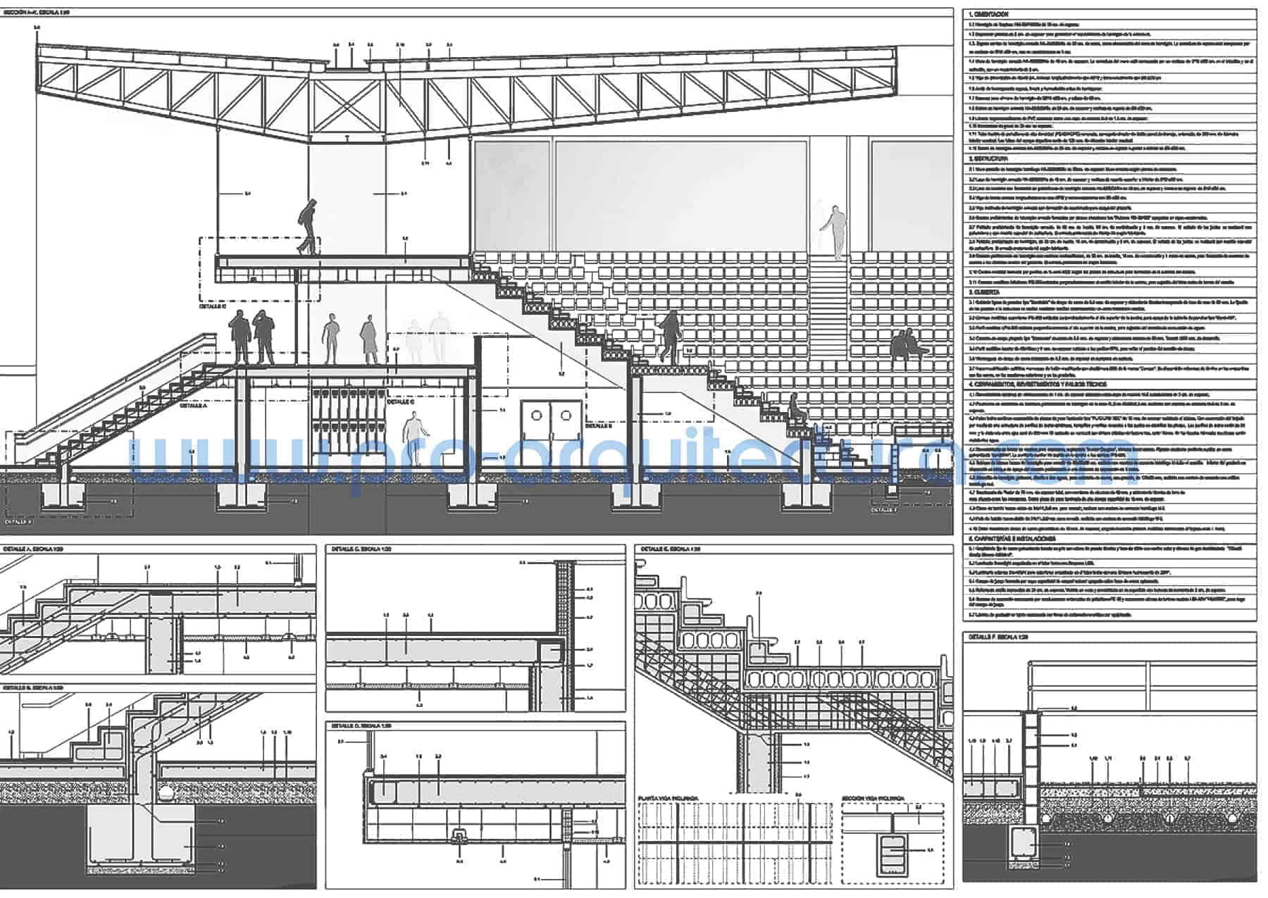 0046-01 Estadio deportivo - Sección y detalles constructivos - Ayuda con la entrega del pfc pfg tfg tfm de arquitectura.
