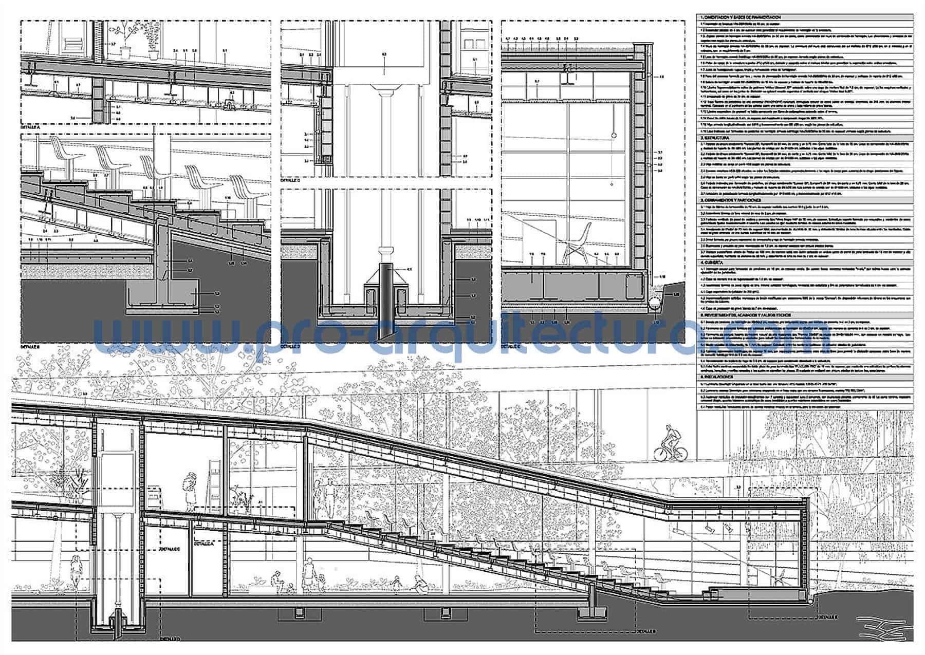 0047-02 Centro de investigación botánica - Sección y detalles constructivos - Ayuda con la entrega del pfc pfg tfg tfm de arquitectura.