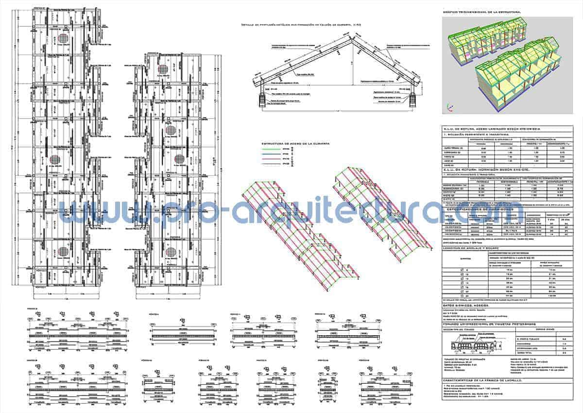 0052-04 Chalets adosados - Planos de estructuras - Tu ayuda con la entrega de la estructura del pfc pfg tfg tfm de arquitectura.