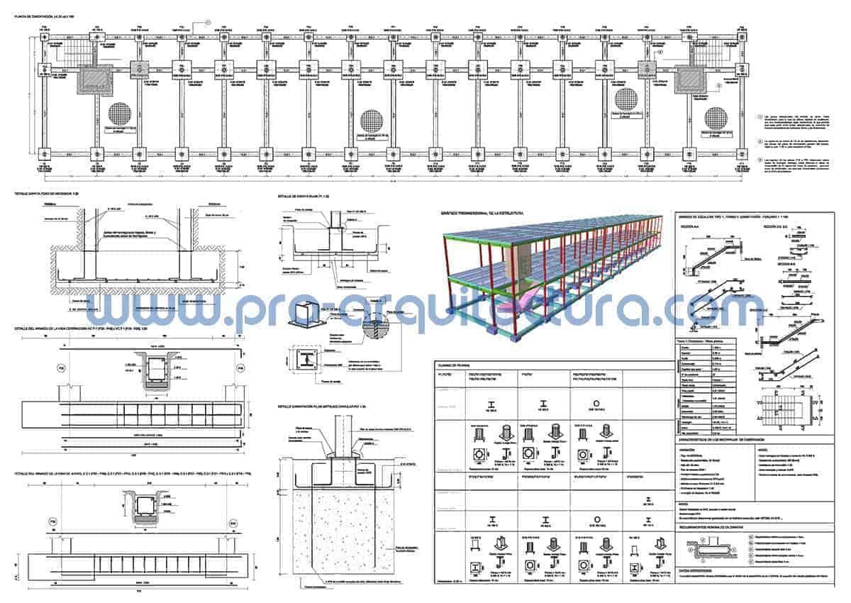 0053-01 Comedor universitario - Planos de estructuras - Tu ayuda con la entrega de la estructura del pfc pfg tfg tfm de arquitectura.