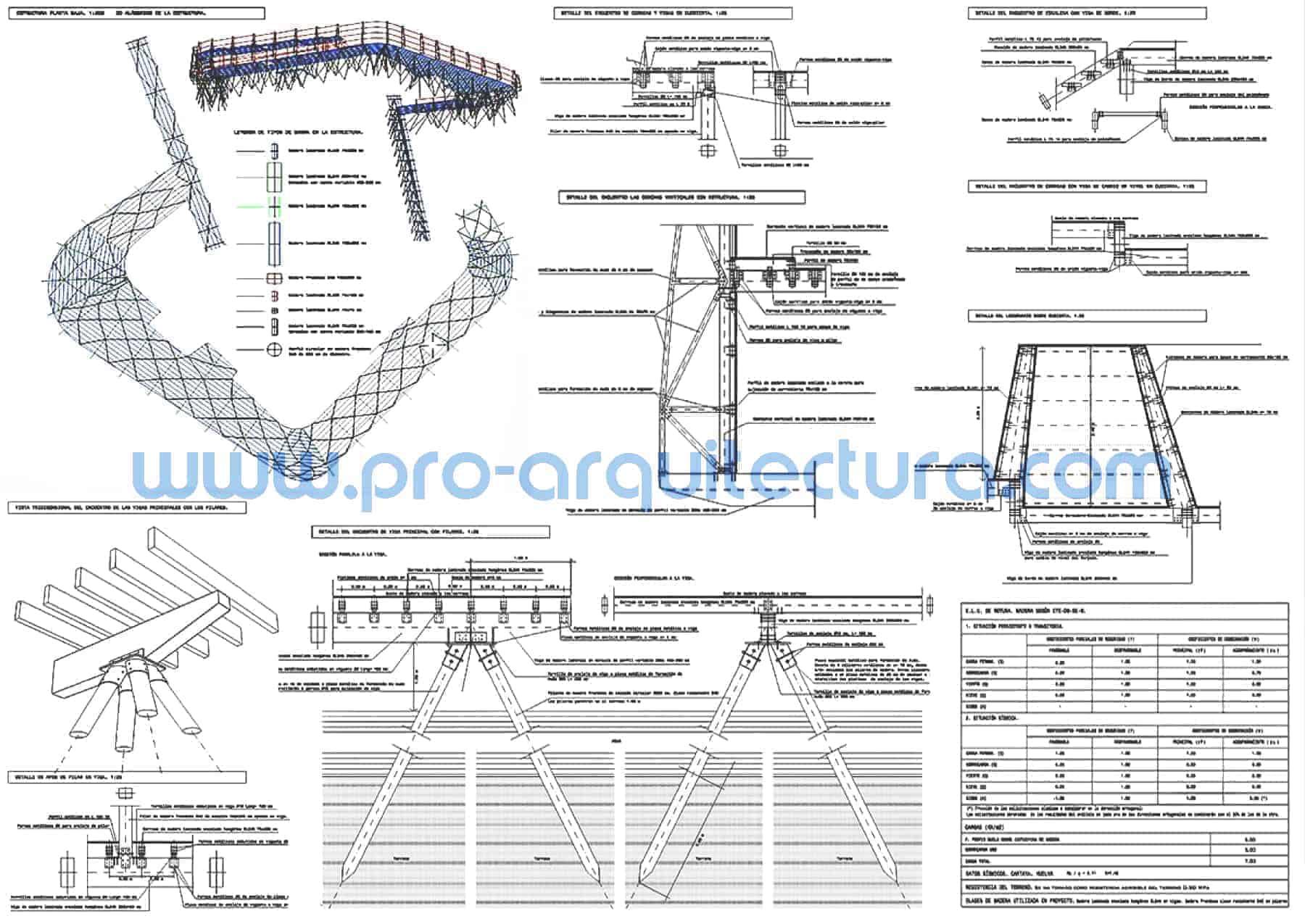 0057-01 Restaurante y plataforma de madera sobre el río - Planos de estructuras - Tu ayuda con la entrega de la estructura pfc pfg tfg tfm de arquitectura.
