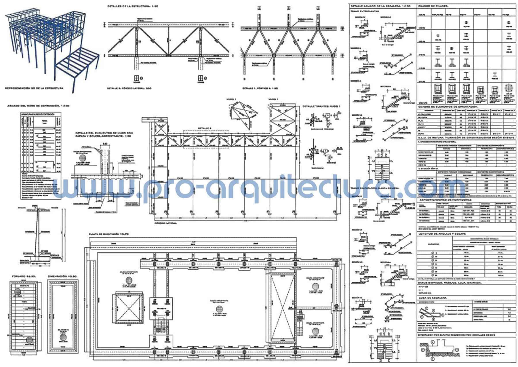 0060-03 Residencia para seminaristas y residencia - Planos de estructuras - Tu ayuda con la entrega de la estructura del pfc pfg tfg tfm de arquitectura. Estructura metálica.