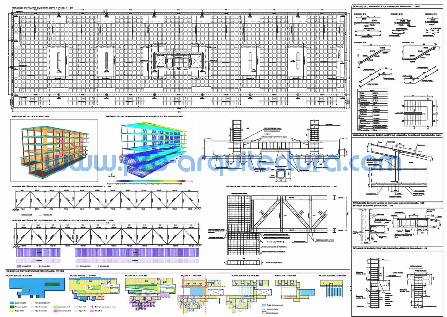 0061-04 Edificio para la universidad - Planos de estructuras - Tu ayuda con el cálculo de la estructura del pfc pfg tfg tfm de arquitectura.