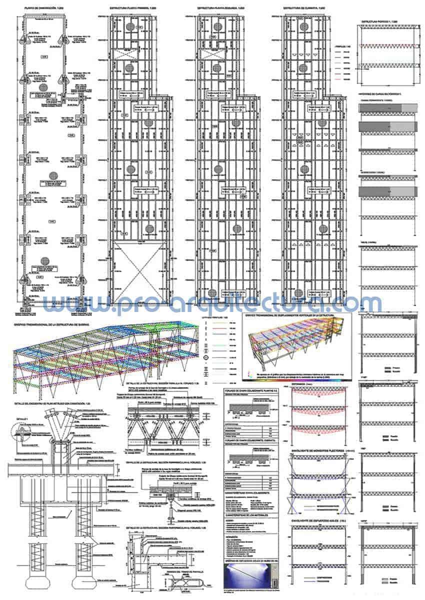 0067-01 Centro comercial - Planos de estructuras - Aayuda con la entrega de la estructura del pfc pfg tfg tfm de arquitectura.